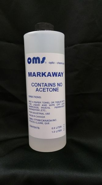 Markaway</br> $28.00</br> Lens Marking Remover  500ml  Contains no acetone. Safe for all lens including polycarbonate and high index